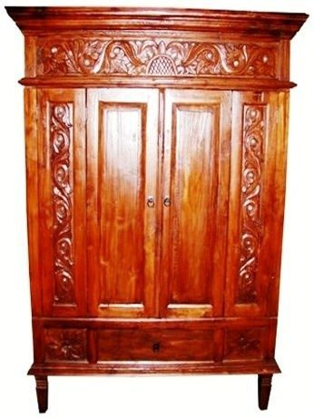 Balinese Carved Teak Armoire