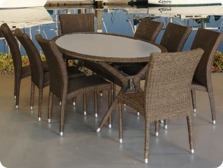 Bari 9pcs Synthetic Wicker Dining Set