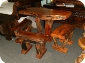 Solid Wood Table & Stools