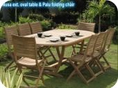 Nusa Oval Expandable Teak Patio Table