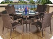 Bari 5pcs Synthetic Wicker Dining Set