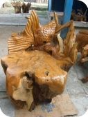 Carved Teak Rootwood Chair