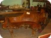 Large Root Wood Bench w/ back