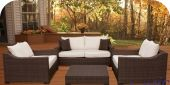 Deep Seating Synthetic Wicker Set - Chocolate
