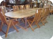 Carved Oval Expandable Patio Table